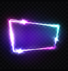 blank 3d light sign with neon effect techno frame vector image
