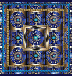 blue 3d greek panel pattern meanders ornament vector image