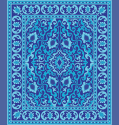 Blue oriental carpet vector