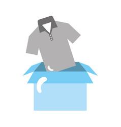 Box carton packing with shirt vector