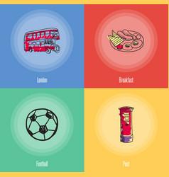 british national symbols icons set vector image