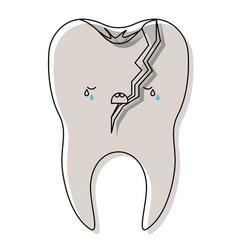Broken kawaii tooth with root in watercolor vector