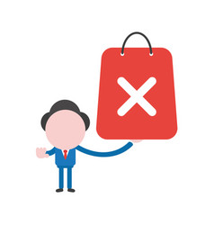 Businessman character holding shopping bag with x vector