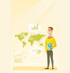 Businessman working in global business vector