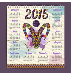 Calendar 2015 design with goat vector image