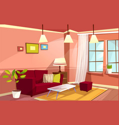 Cartoon living room apartment interior vector