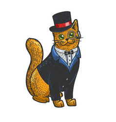 cat in tuxedo top hat and glasses sketch vector image