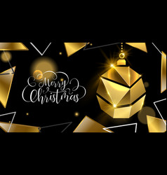 christmas gold luxury 3d bauble greeting card vector image