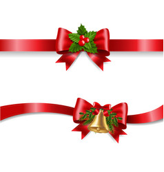 christmas red bow and white background vector image