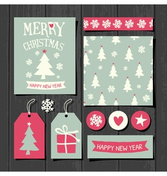 Christmas Templates Retro Paper Collection vector