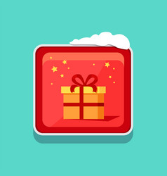 christmas web button covered with snow icon vector image