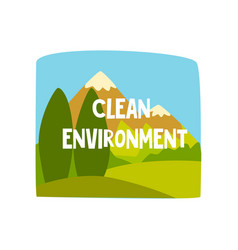 Clean environment design element for ecological vector