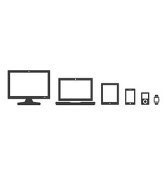 computer and devices icon set vector image