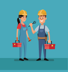 Couple worker construction tools clothes labor day vector