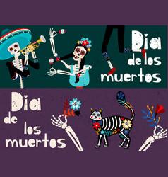 day dead dia de los muertos flat vector image