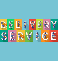 delivery service colourful picture collection vector image