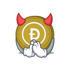 devil dogecoin mascot cartoon style vector image