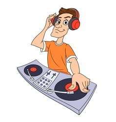 Dj playing music 2 vector image