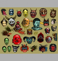 east Asian masks vector image