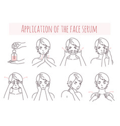 Face serum application steps vector