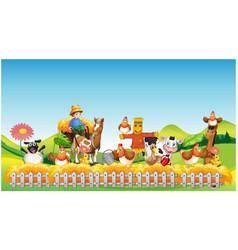 farm scene with animal farm cartoon style vector image