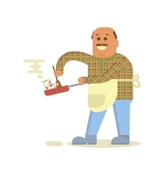 Fat bald man with frying pan vector image