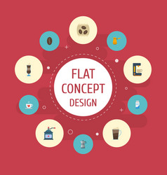 Flat icons mocha paper box ibrik and other vector