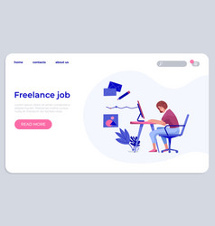 Freelance job landing template young woman vector