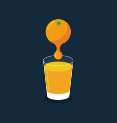 fresh orange juice drop in a glass flat design vector image