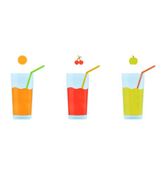 fruit juice in a glass cup juice from orange vector image
