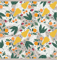 Fruits seamless pattern apples pears strawberries vector