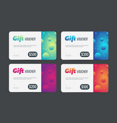 Gift voucher set modern template with futuristic vector