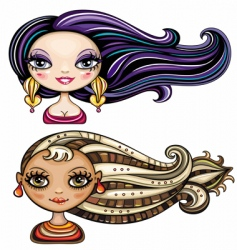 Girls hairstyles vector