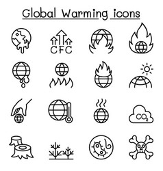 Global warming icon set in thin line stlye vector