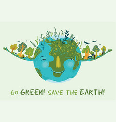 go green save earth cute ecological vector image