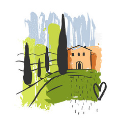 hand drawn landscape tuscany sketch vector image