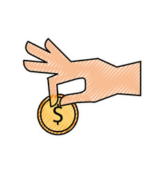 Hand human with coin money vector