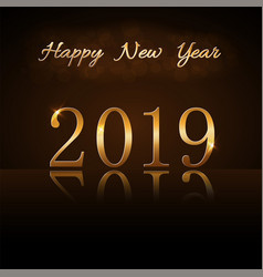 Happy new year background gold numbers 2019 card vector