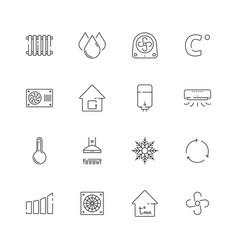 heating cooling icons airing conditioning systems vector image