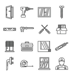 Home window installation icons set outline style vector