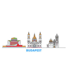 Hungary budapest city line cityscape flat vector
