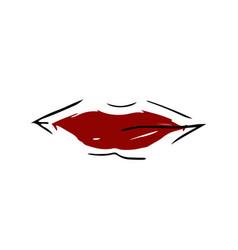 icon of burgundy lips vector image