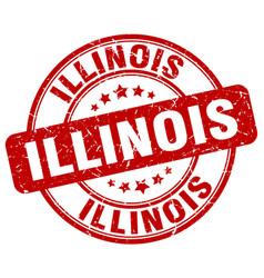 Illinois red grunge round vintage rubber stamp vector