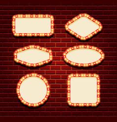 illuminated retro frames set vector image