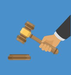 Judge wood hammer in hand vector