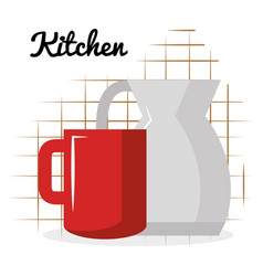 kitchen teapot with coffee cup utensil icon vector image