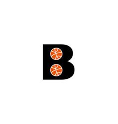 letter b for basketball logo template vector image