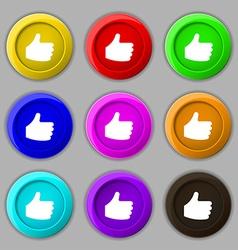 Like Thumb up icon sign symbol on nine round vector image