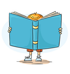 little boy is a reading big book vector image