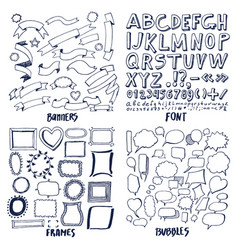 lot patterns font banners frames and bubbles vector image